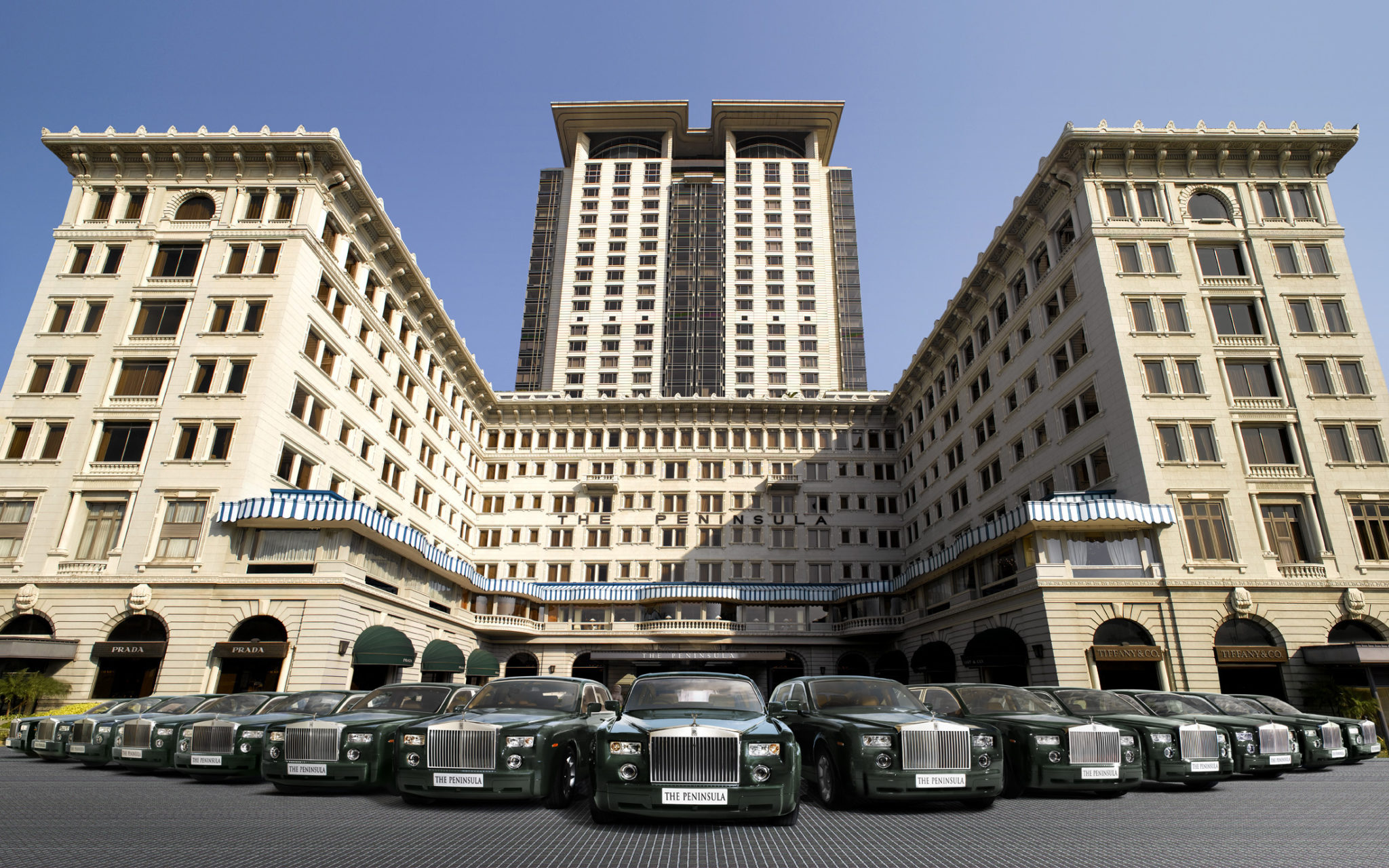 The Peninsula Hong Kong - exterior with Rolls-Royce fleet