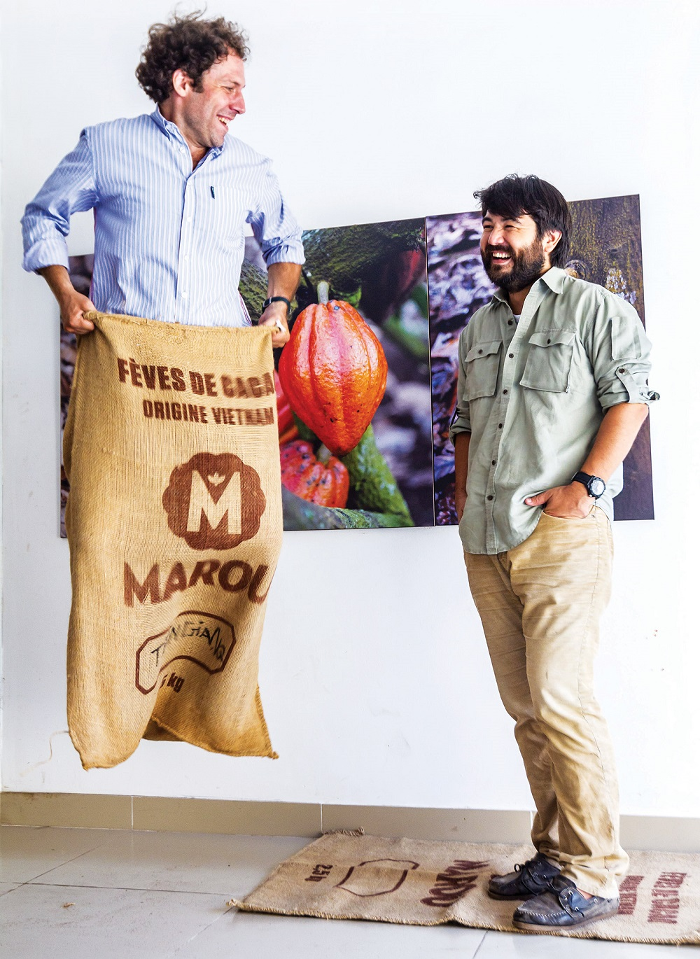 (FORBES VIETNAM )VINCENT (Blue shirt) and SAMUEL - CO-FOUNDERS and OWNERS OF MAROU CHOCOLATE COMPANY, IN HOCHIMINH CITY, VIETNAM, JUNE 26th,2013. (Le Quang Nhat / Forbes Vietnam)