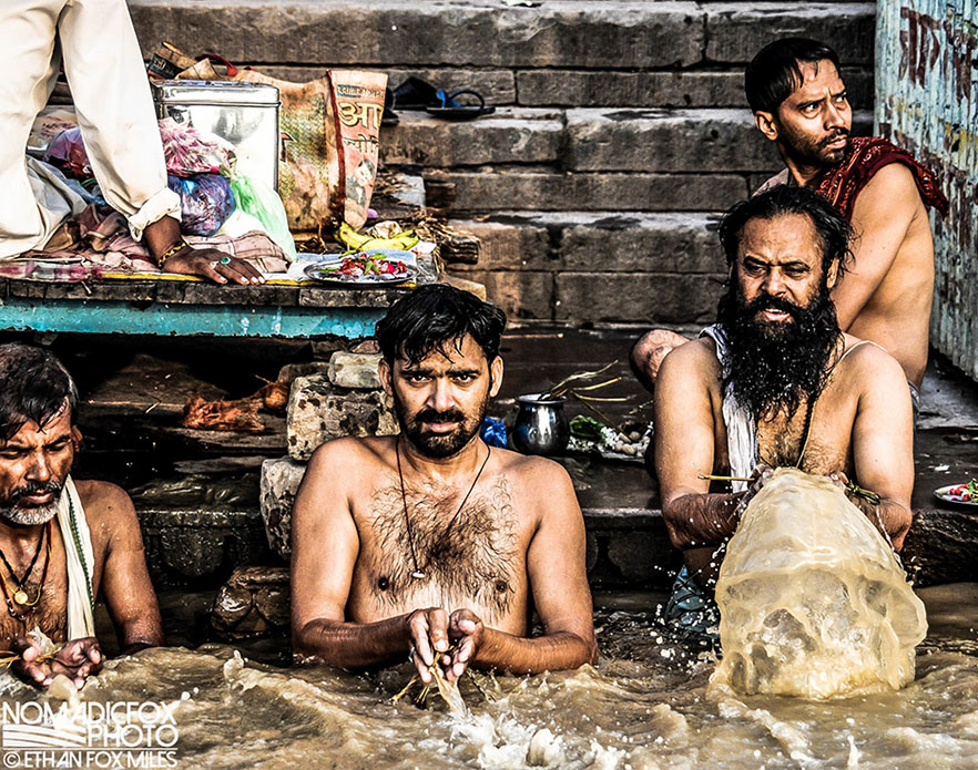 Purify on river in Varanasi, India