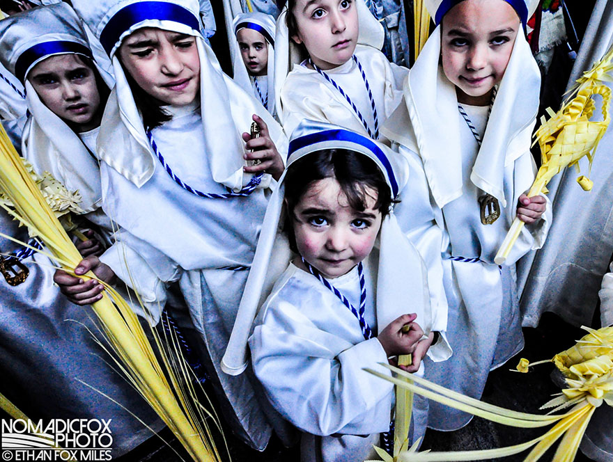 White clad Orthodox Christians celebrating
