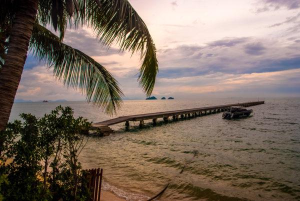 Intercontinental Samui, pier, twilight, sea, cloudy sky