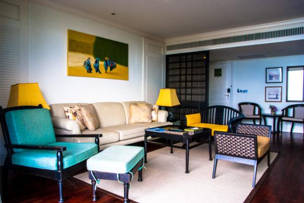 Intercontinental Samui bedroom, beige sofa