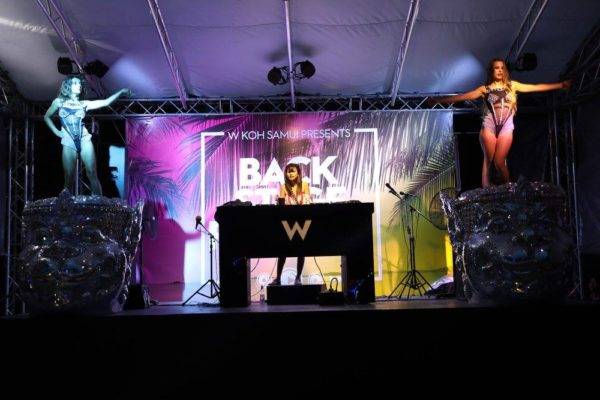 DJ performing, stage