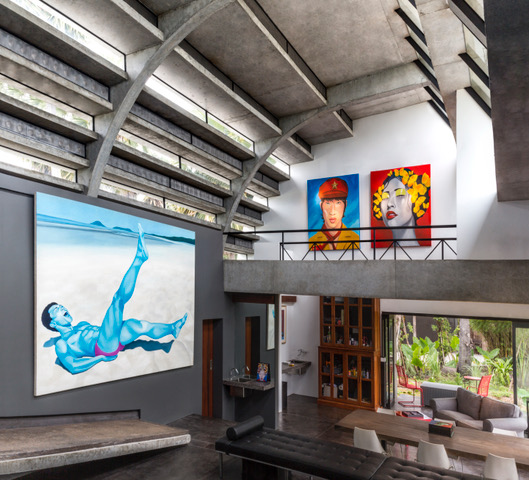 Studio WARP, Gallery, curved building, semi open structure, paintings