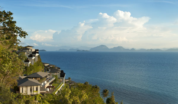 Conrad Samui, seaview, palm trees, blue turquoise waters, islands