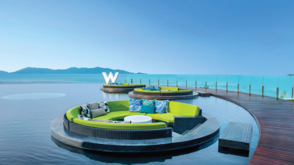 W Koh Samui iconic view, sea view, blue waters, lounge pods, water ponds