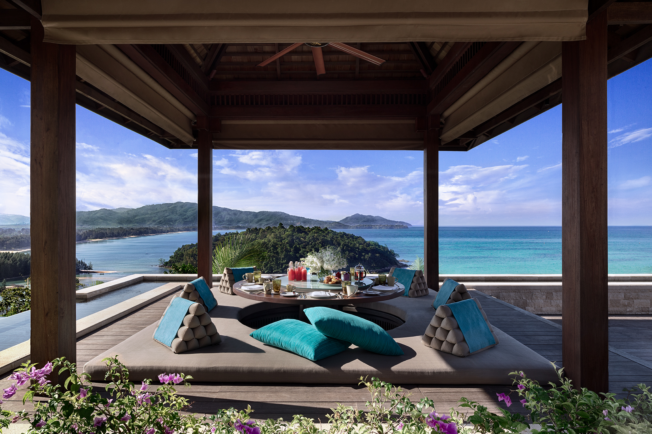 Similan villa, Anantara layan phuket, sea view, sala, island view, thai pillows, cushion, terrace