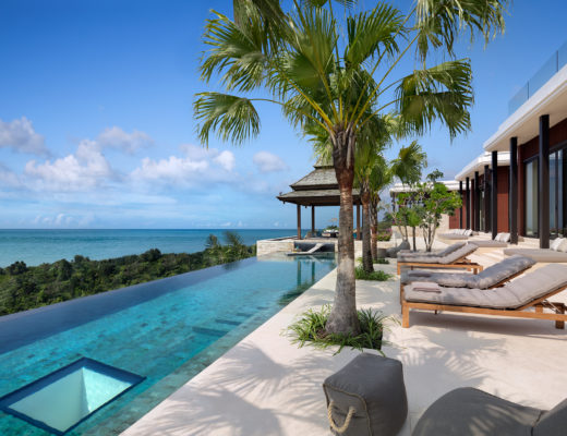 Similan villa, Anantara layan phuket, sea view, infinity pool, lounge chairs, sala, palmtree, terrace