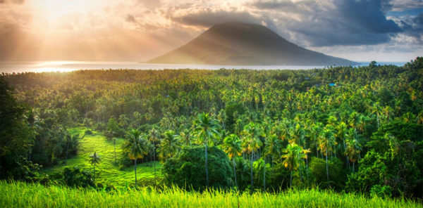 volcano, sunset, jungle green